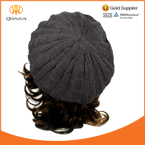 High Quality Winter Thick Knit Crochet Beret Cable Baggy Beanie Hat Cap