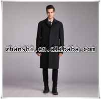 Newest fashion black wool real business wool men hotsale winter long coat