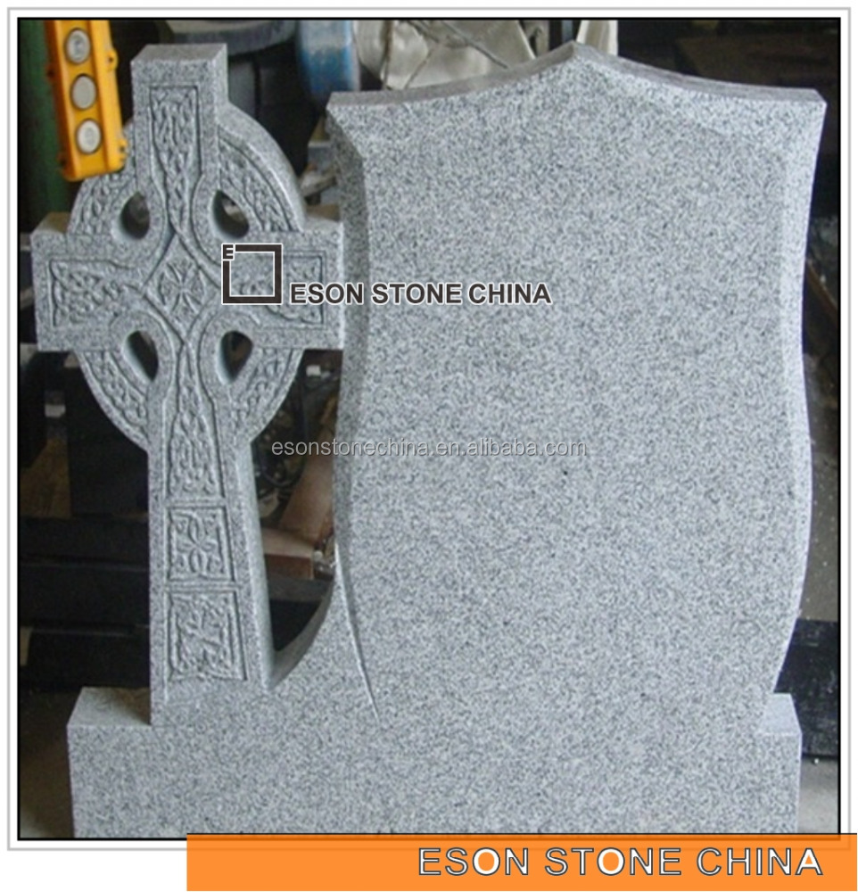 Eson Stone light grey g633 granite monument with cross shape, chinese material tombstone european style design headstone
