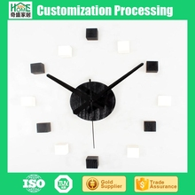 Simple Black and White 3D Stereo Wooden Box DIY Self-adhesive Wall Clock