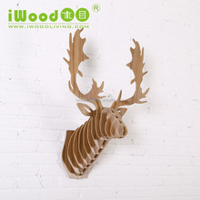 Reindeer head wood crafts, animals wood crafts for wholesale