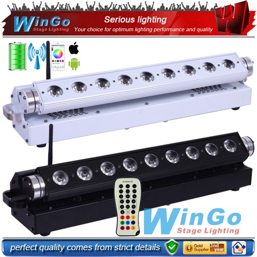 Powered battery led bar light 9x18w RGBWA+UV 6in1 wireless dmx LED wash lighting for wedding fasion show music concert or club