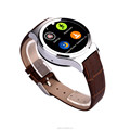 Leather smart watch wearable phone watch for IOS Android round health tracker