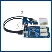 PCIe 1 to 3 PCI express 1X slots Riser Card Mini ATX to external 3 PCI-e slot adapter PCIe Port Multiplier Card