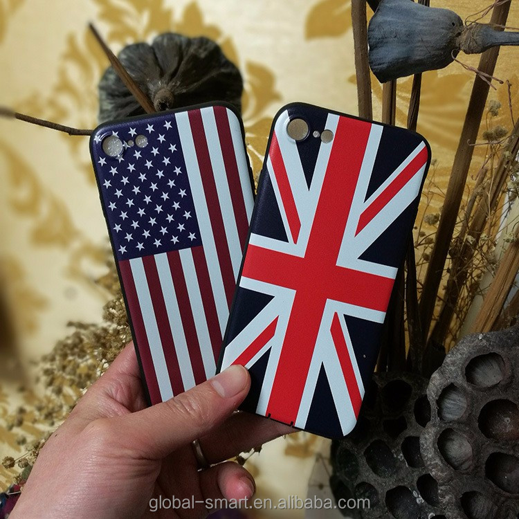 USA national flag printing embossed phone case for iphone , logo custom cheap mobile phone back case
