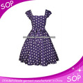 Hot sale royal blue long polka dot dress with bow waist fitted