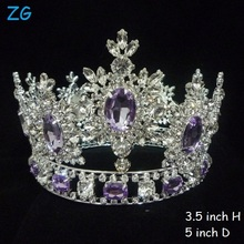 Hottest!!!Luxurious Crystal Tiaras Purple Diamond Tiara Princess Crown bridal crown full round pageant crown