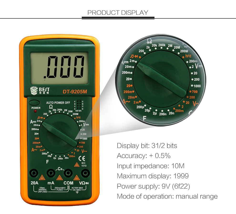 BST-9205M Digital Multimeter Handheld Customized Multimeter LCD Display AC/DC Current Testing