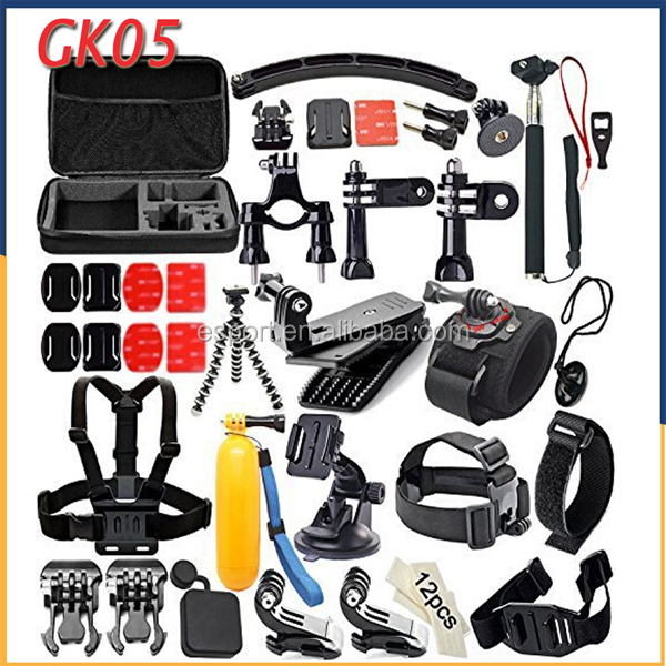 2017 Best selling Gopros accessories set for Gopros/sjcam camera accessories, kit go pro accessories GK05, gopros set