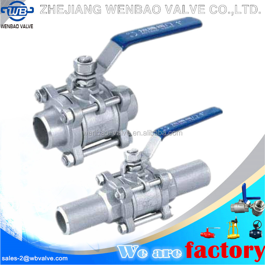Three pieces stainless steel butt-weld ball valve dn20