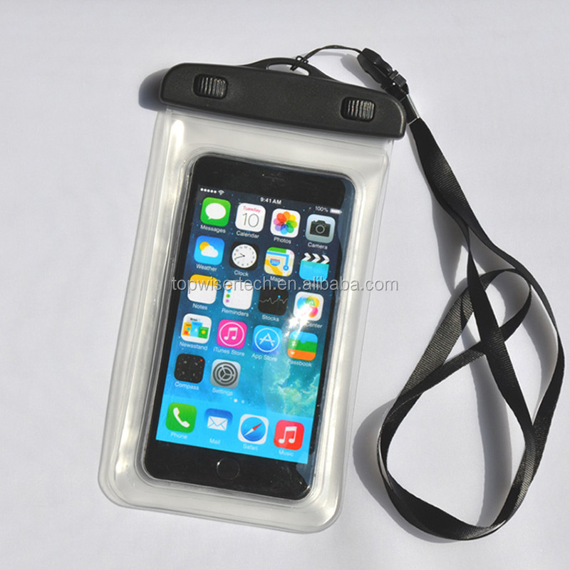 New Fashion Fingerprint Identification IPX8 Waterproof PVC Diving Cell Phone Bag Case For 4.5-6inch Smartphone