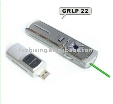 Wireless Presenter with green laser pointer,mouse function and USB memory storage