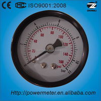 "china suppliers diameter 2.5"" steel case/brass movement/phosphor bronze bourdon tube/back connection pressure gauge"