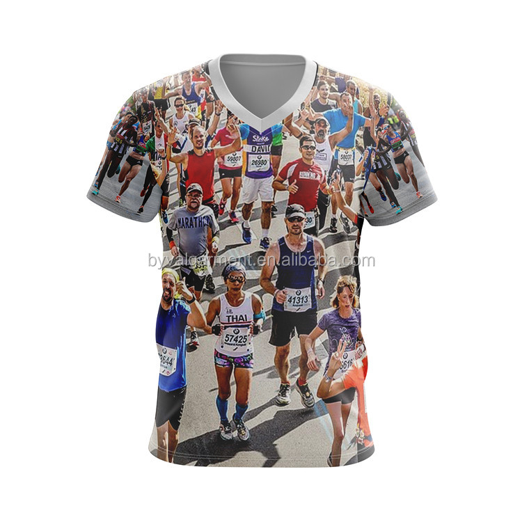 100% Polyester Cool Quick Dry Marathon Tshirt Running T-shirt Sublimation T-shirt 3D Custom Logo Printing Dry Fit Tshirt for Men