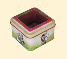 Square tin box with a clear window for gift packing