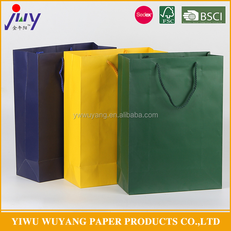 Solid color Paper gift bag for promotion and gift packing