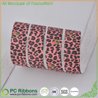 5/8'' shiny fold over elastic Cheetah printed elastic ribbon