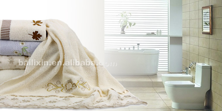 custom promotional cheap luxury embroidery lace bathroom towel cover sets