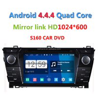 S160 2din Android 4.4.4 Car DVD player for Toyota Corolla 2014 Quad Core 1024*600 Screen Car Gps Navigation stereo audio radio
