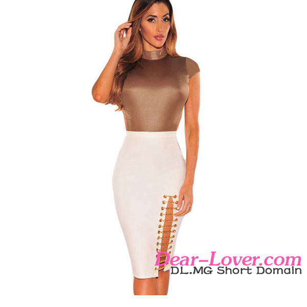 Elegant Mature Women in White Gold Chain Slit Dress Skirts