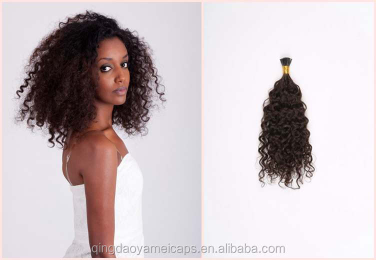 Curly Stick Tip Fashion 2# Curly Virgin Human Hair Extension Brazilian deep Curly Weave Human Hair Stick/I-tip