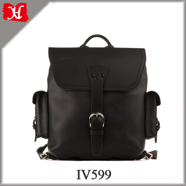 Leather Backpack With Leather Flap, School Backpacks For Teenage