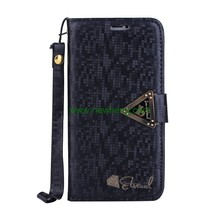 New Product Diamond Grain Flip Stand Wallet Pu Leather Case For iPhone X
