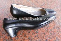new products for High quality shoes Black leather PU shoes manufacturing company for womens high heels 2013