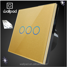 Hot Products to Sell Online Wallpad Waterproof Europe UK Gold Glass Panel 10 Amp Switch 3 Gang Touch Button Sensitive Switch