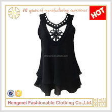 Trendy design lace neck sleeveless sexy women black chiffon tops