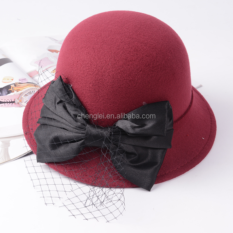 Wholesale womens Wool Cloche Bucket Winter Hat with bowknot