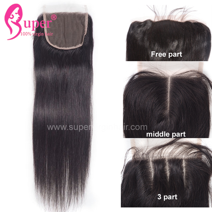 Brazilian Hair with Closure Real Human Virgin Extensions Silky Straight Wave Bundles 4*4 Free Part Swiss Lace Closures