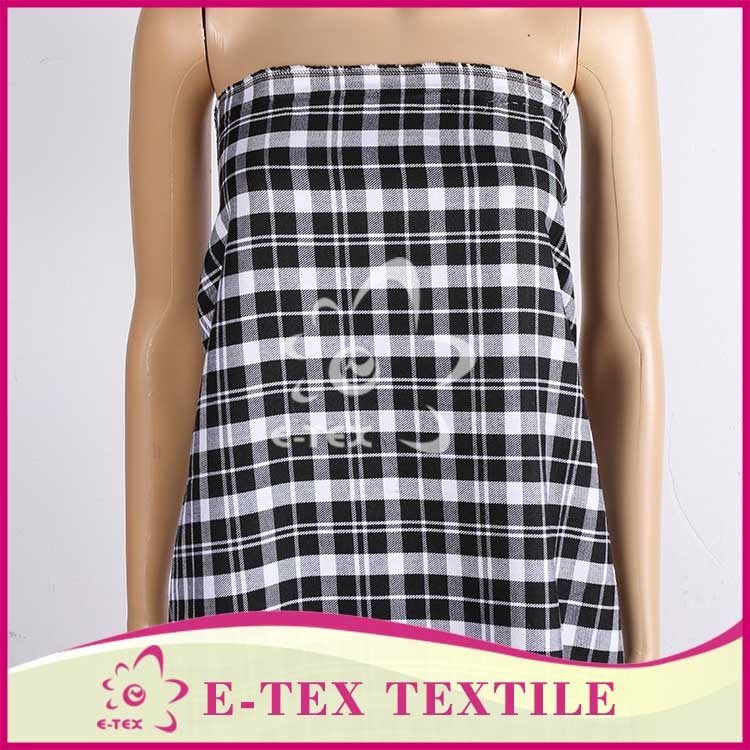 Textile fabrics supplier polyester rayon Custom Printed plaid fabric