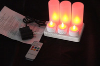6pcs/SET Rechargeable led artificial candle light ,With Frosted Cups remote control