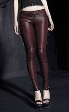 K-149 Punk wine red sexy ladies motorcycle studded belts leather leggings