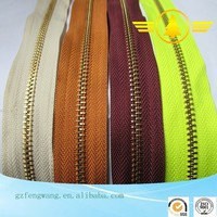 wholesale High Quality gold long chain zipper custom length