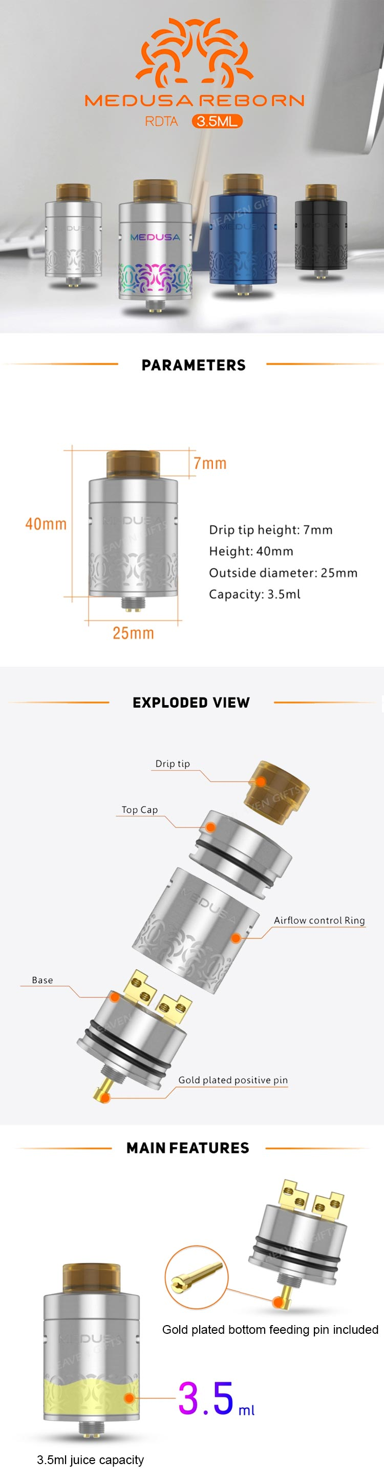 Newest 100% Original 3.5ml GeekVape Medusa Reborn RDTA