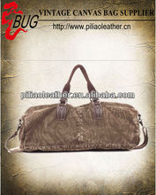 12oz canvas imitation leather duffle bag/ travelling bag manufacture wholesale in Guangzhou