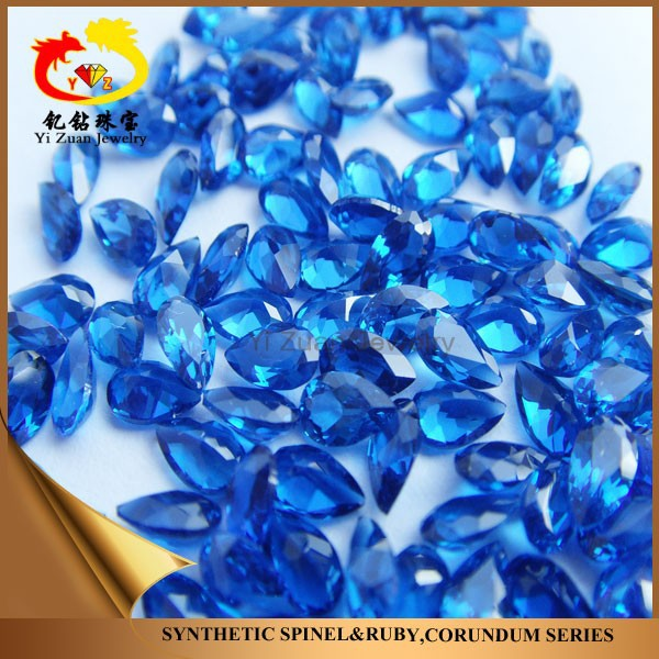 Factory wholesale blue pear shaped diamond facet spinal stone