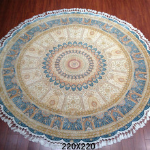 Top quality hand knotted 7x7ft persian silk oriental handmade qum round rugs 100% silk