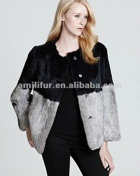 #3201 Genuine Rabbit Fur Long Sleeve Jacket - Patchwork, Women's