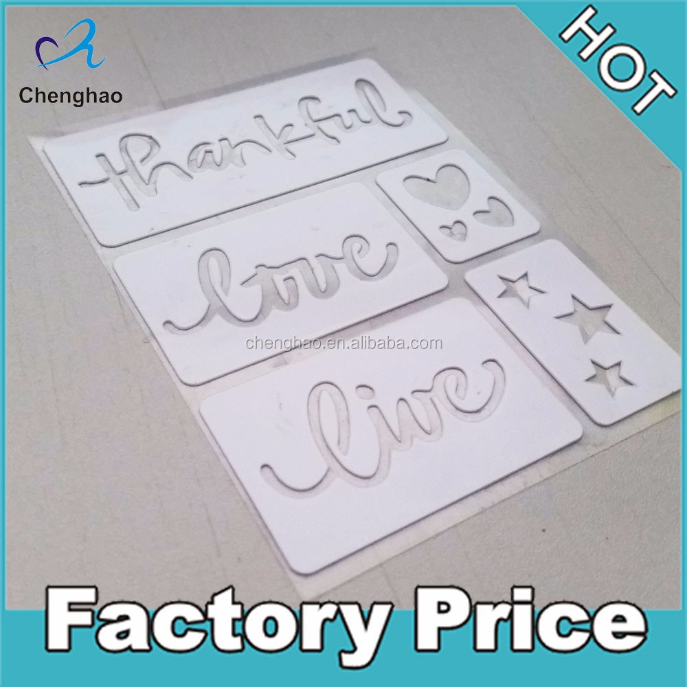 custom pvc adhesive alphabet stencil stickers for kids drawing