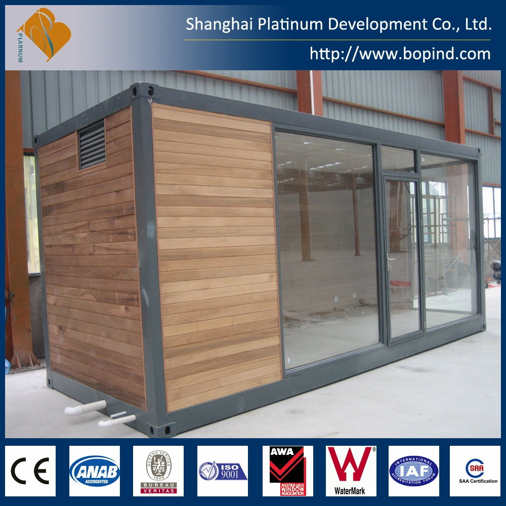 Standard 20ft shipping container office with big glass windows and doors