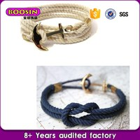 New Model design jewellery gift men's anchor fashion rope silver cuff bracelet