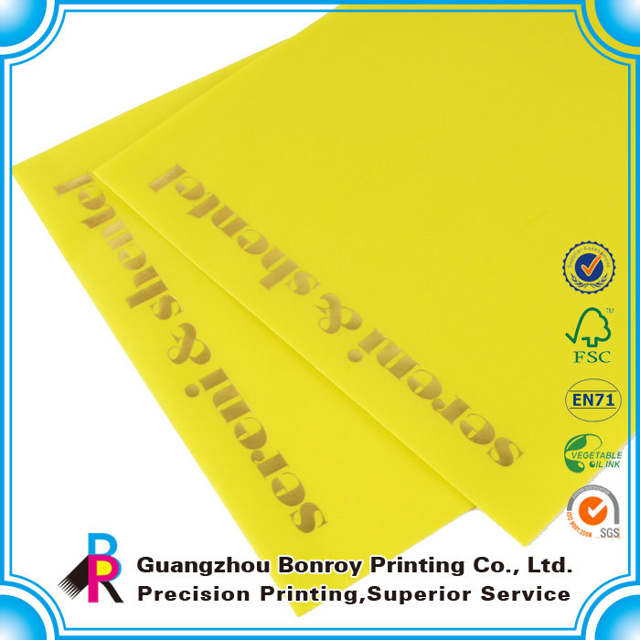 Alibaba top quality custom fashion yellow colour printing art paper envelope