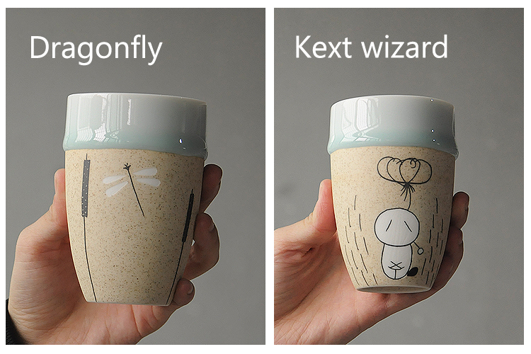 Factory direct sales hand-painted ceramic flow glaze frosted without handle cartoon mug