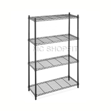 Factory Supply 4 tiers chrome wire shelving <strong>shelves</strong> display layers Tier Black Powder Coated