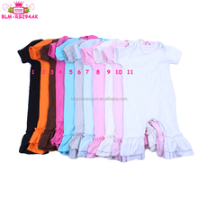 Infant Newborn Short sleeve Cotton Ruffle Icing Rompers Solid color Baby Girl Clothes Rompers