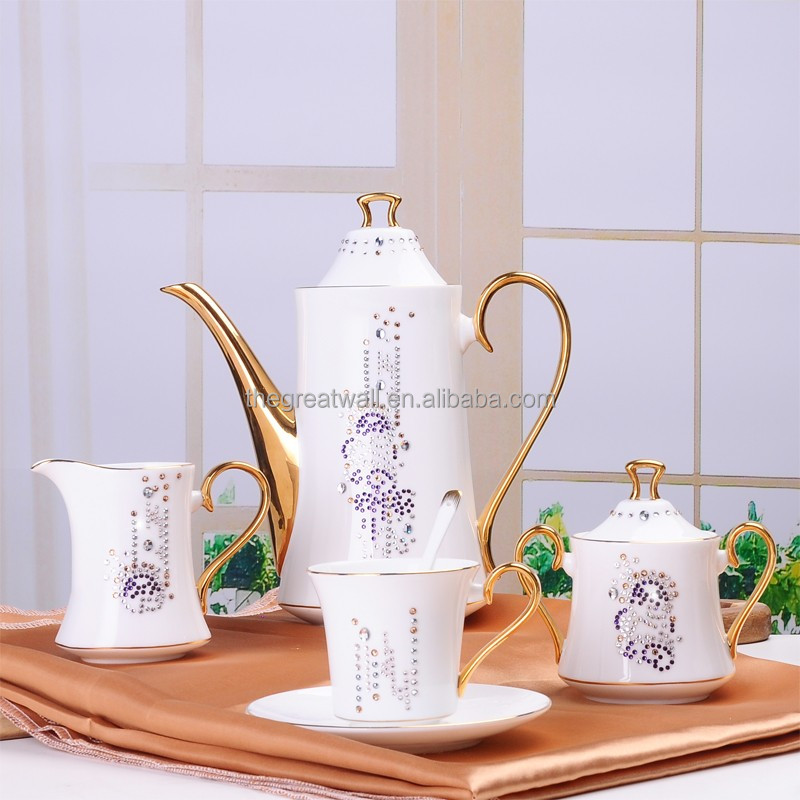 HotHandmade ODM G&W gold rim silver coffee set gift, tea coffee cookie sugar ceramic set, milk jug coffee with Swarovski Diamond