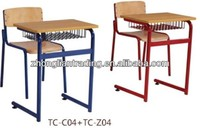 Commercial attached used school desk and chair with writing board